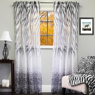Sheer Exotic Animal Print Curtain Panel - 50 X 84