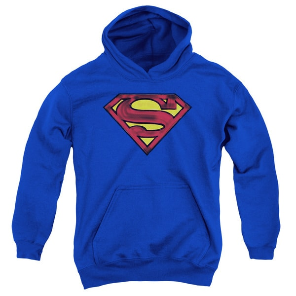 Youth Royal Blue Superman Shield Pullover Hoodie