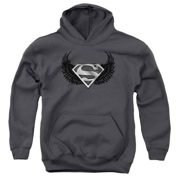 Superman Youths' Dirty Wings Charcoal Pull-over Hoodie