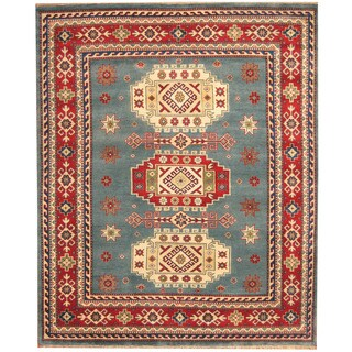 Herat Oriental Indo Hand-knotted Kazak Light Blue/ Red Wool Rug (8' x 10')