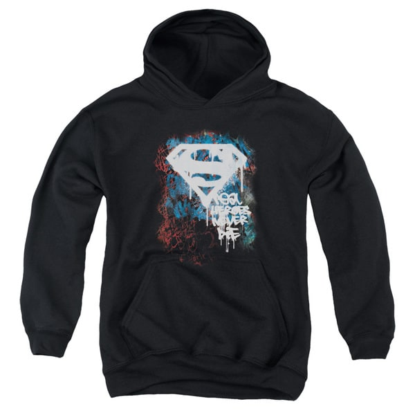 Superman/Real Heroes Never Die Youth Black Pull-over Hoodie