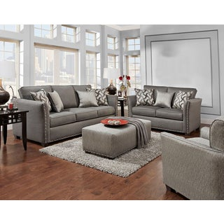 Sofa Trendz Brice Grey Microfiber Sofa and Loveseat (Set of 2)