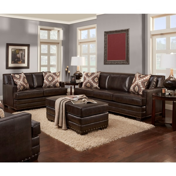 Sofa Trendz Bruce Collection Brown Faux Leather Sofa Loveseat and Ottoman Set