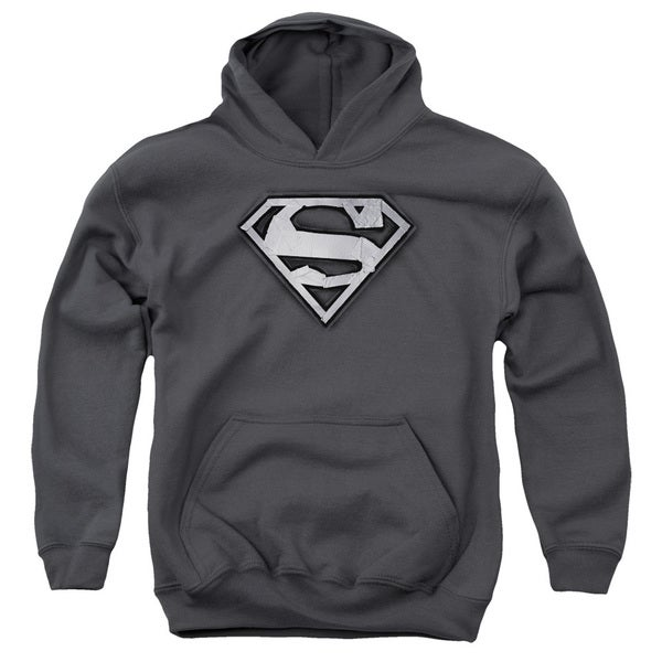 Superman/Duct Tape Shield Charcoal Youth Pull-over Hoodie
