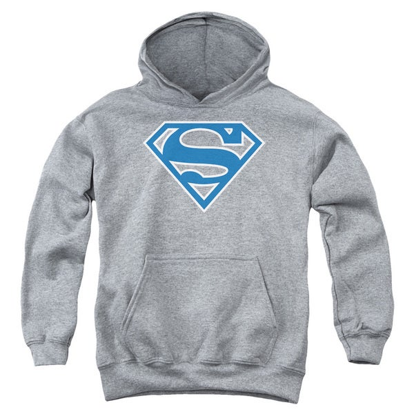 Youth Superman/Blue & White Shield Athletic Heather Pullover Hoodie