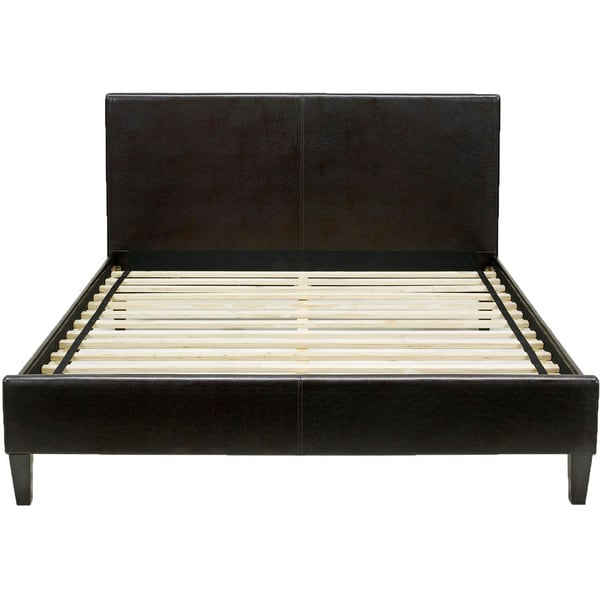 Hanover Downtown Brown Wood and Faux-leather Queen Platform Bed Frame