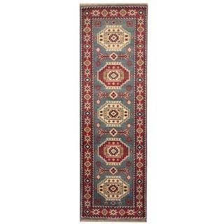 Herat Oriental Indo Hand-knotted Kazak Light Blue/ Red Wool Runner (2'7 x 8')