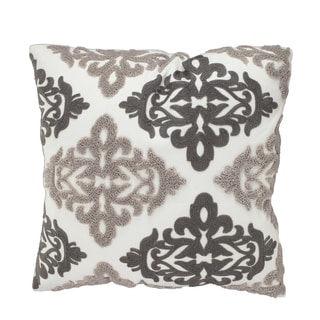 18-inch x 18-inch Feather-filled Embroidered Throw Pillow
