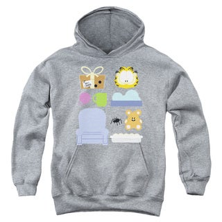 Youth's Heather Grey Cotton/Polyester Garfield/Gift Set Pull-over Hoodie