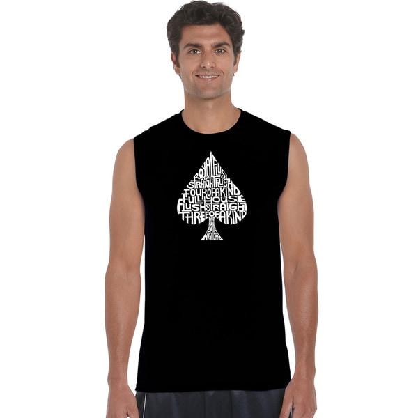Men's 'Winning Poker Hands' Solid-colored Cotton Sleeveless T-shirt