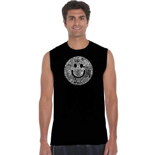 Men's Smile in Different Languages Sleeveless T-shirt