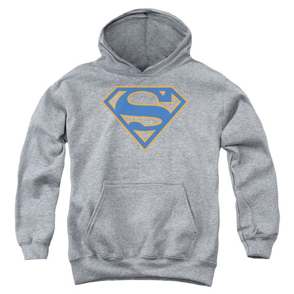 Grey Heather Superman/Blue and Orange Shield Pull-over Hoodie