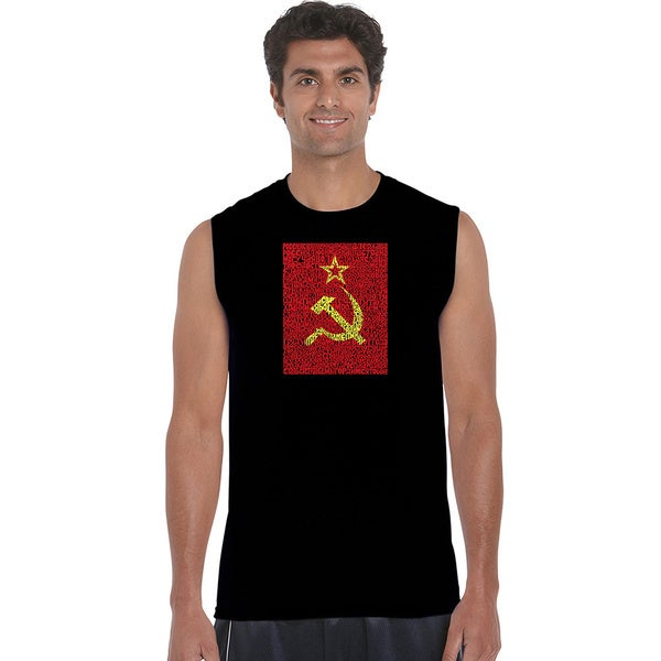 Men's Cotton Sleeveless Soviet National Anthem Lyrics T-shirt