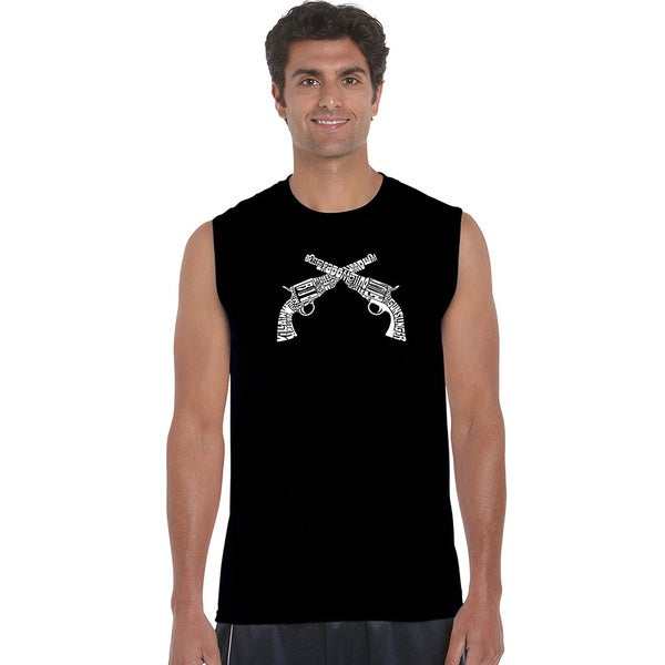 Men's 'Crossed Pistols' Solid-colored Cotton Sleeveless T-shirt