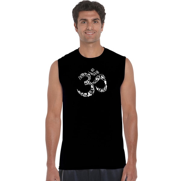 Men's Sleeveless The Om Symbol Out Of Yoga Poses T-shirt