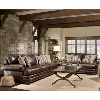 Sofa Trendz McKayla Brown Leather Sofa and Loveseat (Set of 2)