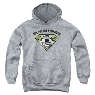 Superman/Soccer Shield Youth Heather Grey Pull-over Hoodie