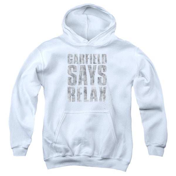 Garfield/Relax Youth White Pullover Hoodie