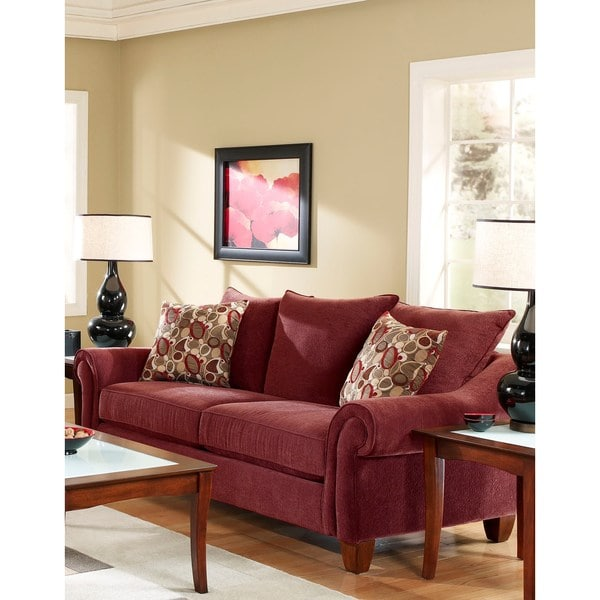 SOFA TRENDZ Roja Rust Red Cotton/Polyester Sleeper Sofa