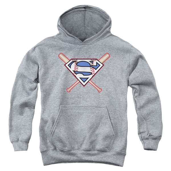 Superman/Crossed Bats Youth Heather Pull-over Hoodie