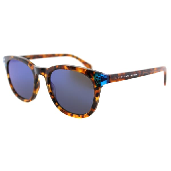 Marc by Marc Jacobs MMJ 458/S A7X Havana Blue Plastic Square Blue Mirror Lens Sunglasses
