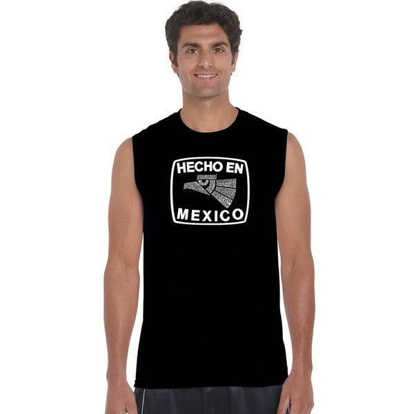 Men's 'Hecho en Mexico' Black Cotton Sleeveless T-shirt