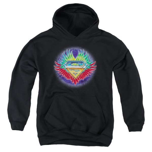 Superman/Don't Stop Believing Black Youth Pullover Hoodie