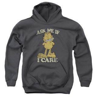 Garfield/Ask Me Charcoal Youth Pullover Hoodie