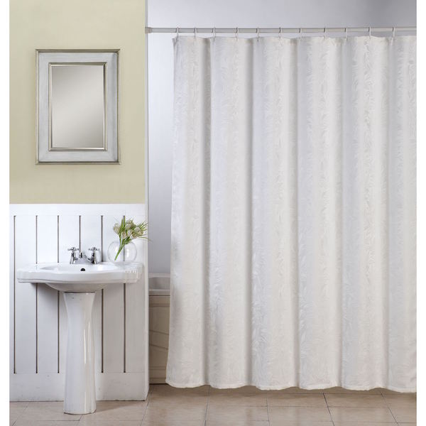 Ellen Tracy Lisbon White Textured Fabric Shower Curtain