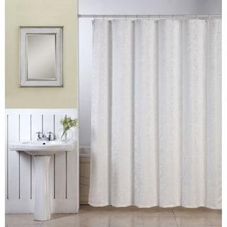 Ellen Tracy Lisbon White Textured Fabric Shower Curtain