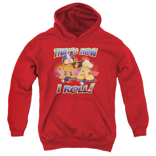 Garfield/How I Roll Youth Pull-Over Hoodie in Red