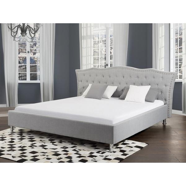Metz Grey Fabric King Sized Platform Bed