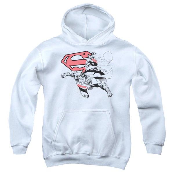 Superman/Double The Power Youth Pullover Hoodie in White
