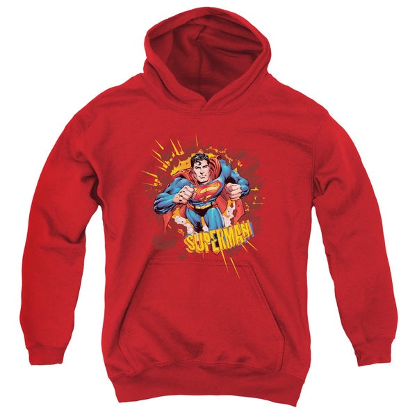 Youth Superman/Sorry About the Wall Red Pullover Hoodie
