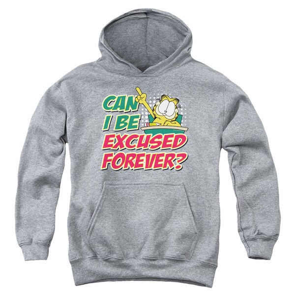 Garfield/Excused Forever Youth Pullover Hoodie in Heather