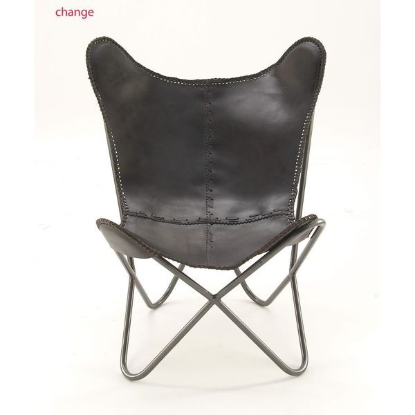 Adorable Metal Real Leather Black Chair