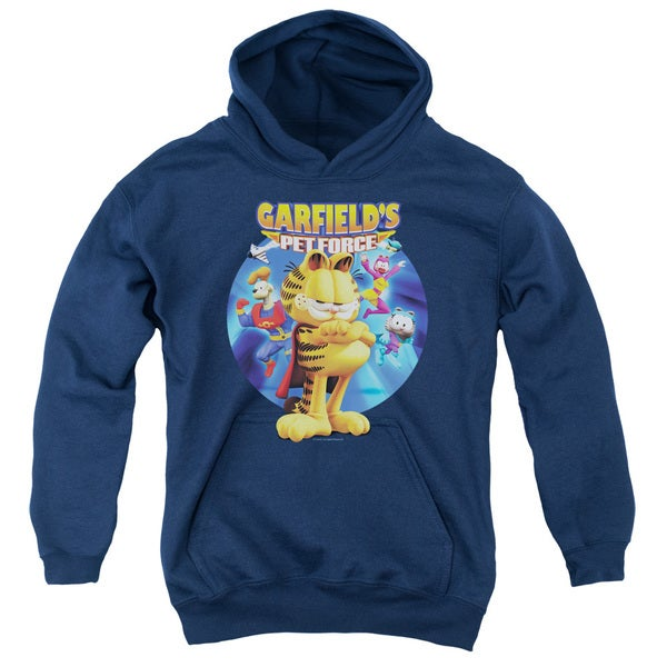 Garfield/DVD Art Youth Navy Cotton/Polyester Pullover Hoodie
