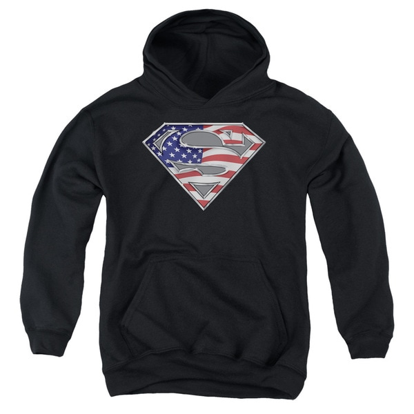 Superman Youth All American Shield Black Cotton/Polyester Pullover Hoodie
