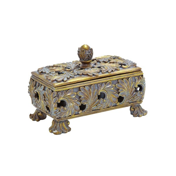 Decorative Box In Stunning Gold Finish & Dull Grey Wash