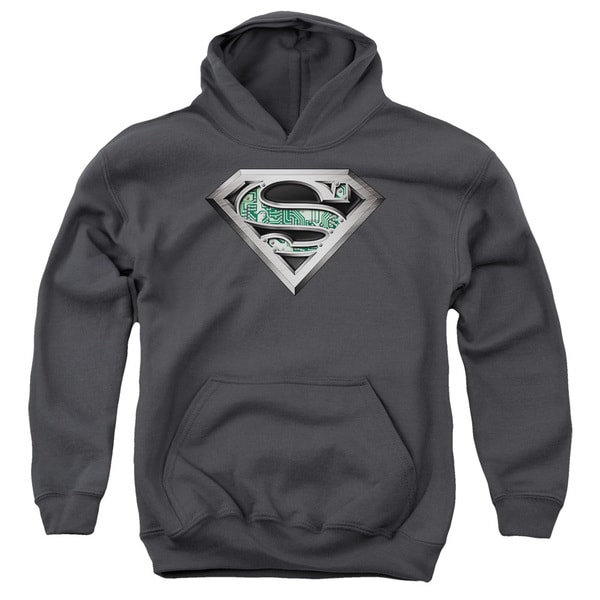 Superman/Circuitry Logo Charcoal Youth Pullover Hoodie