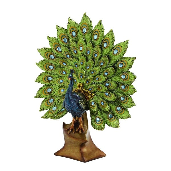 Elegant Jade Colored Peacock Decor