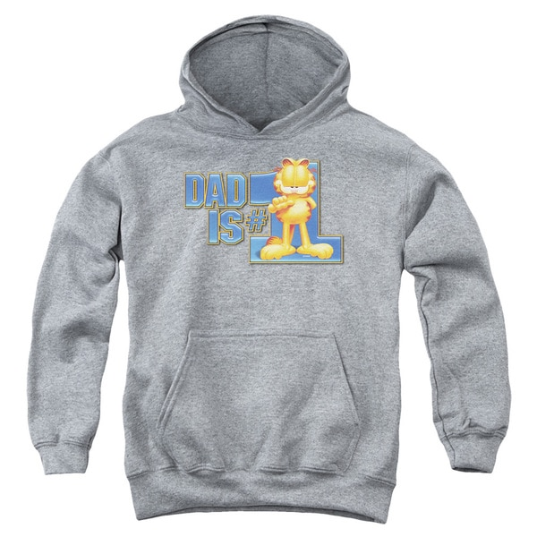 Youth Garfield/Dad Is Number One Heather Pullover Hoodie
