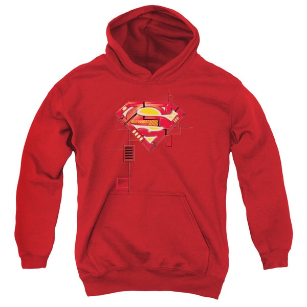 Superman Youth Super Mech Shield Red Cotton/Polyester Pullover Hoodie