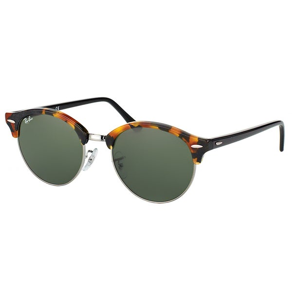 Ray-Ban RB 4246 1157 Clubround Spotted Black Havana And Silver Plastic Clubmaster Green Lens Sunglasses