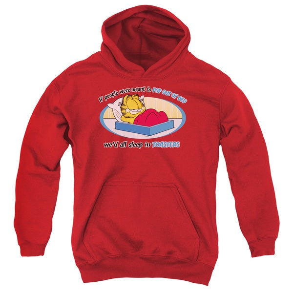 Garfield/Pop Out Of Bed Youth Red Pull-over Hoodie 18662295