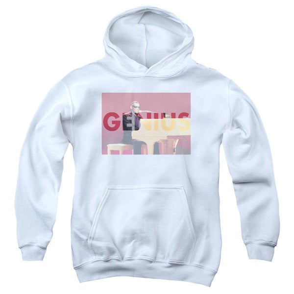 Ray Charles/Genius Knockout Youth Pull-Over Hoodie in White