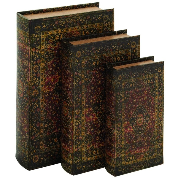 Decorative Wood Fabric Book Box Set Of Three