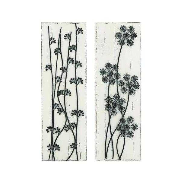 Pine Wood Metal Wall Decor Assorted With Beautiful Wild Floral
