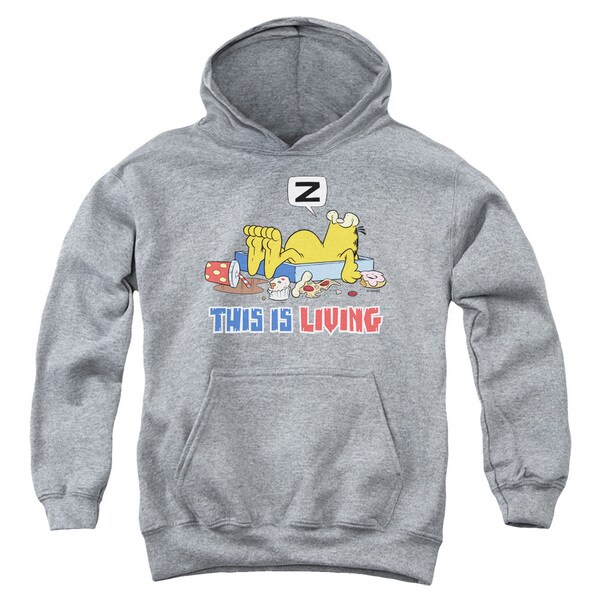 Garfield/This Is Living Youth Heather-grey Pullover Hoodie