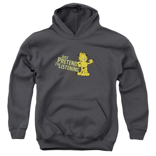 Youth's Charcoal Grey Cotton/Polyester Garfield/Just Pretend I'M Listening Pull-over Hoodie